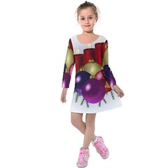 Candles Christmas Tree Decorations Kids  Long Sleeve Velvet Dress
