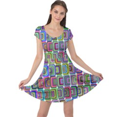 Psychedelic 70 S 1970 S Abstract Cap Sleeve Dresses