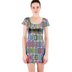 Psychedelic 70 S 1970 S Abstract Short Sleeve Bodycon Dress
