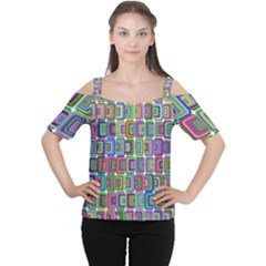 Psychedelic 70 S 1970 S Abstract Women s Cutout Shoulder Tee
