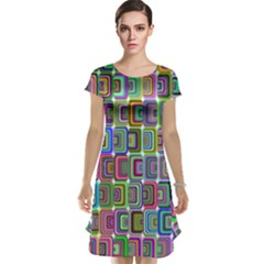 Psychedelic 70 S 1970 S Abstract Cap Sleeve Nightdress