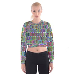 Psychedelic 70 S 1970 S Abstract Women s Cropped Sweatshirt