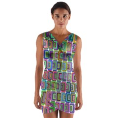 Psychedelic 70 S 1970 S Abstract Wrap Front Bodycon Dress