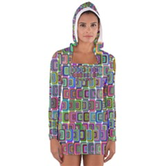 Psychedelic 70 S 1970 S Abstract Women s Long Sleeve Hooded T-shirt