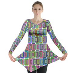 Psychedelic 70 S 1970 S Abstract Long Sleeve Tunic