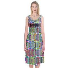 Psychedelic 70 S 1970 S Abstract Midi Sleeveless Dress