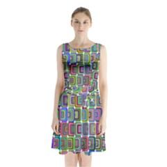 Psychedelic 70 S 1970 S Abstract Sleeveless Chiffon Waist Tie Dress