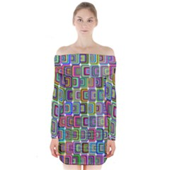 Psychedelic 70 S 1970 S Abstract Long Sleeve Off Shoulder Dress