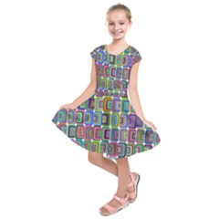 Psychedelic 70 S 1970 S Abstract Kids  Short Sleeve Dress