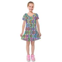 Psychedelic 70 S 1970 S Abstract Kids  Short Sleeve Velvet Dress