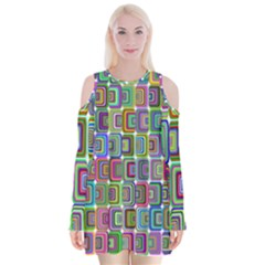 Psychedelic 70 S 1970 S Abstract Velvet Long Sleeve Shoulder Cutout Dress