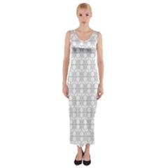 Ornamental Decorative Floral Fitted Maxi Dress