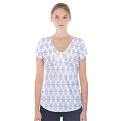 Ornamental Decorative Floral Short Sleeve Front Detail Top