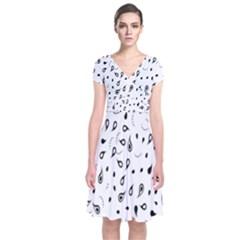 Paisley Floral Flourish Decorative Short Sleeve Front Wrap Dress