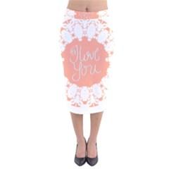 Mandala I Love You Velvet Midi Pencil Skirt