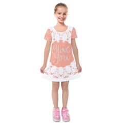 Mandala I Love You Kids  Short Sleeve Velvet Dress