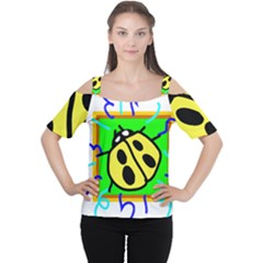 Insect Ladybug Women s Cutout Shoulder Tee