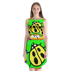 Insect Ladybug Sleeveless Chiffon Dress