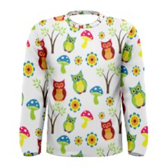 Cute Owl Wallpaper Pattern Men s Long Sleeve Tee
