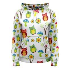 Cute Owl Wallpaper Pattern Women s Pullover Hoodie