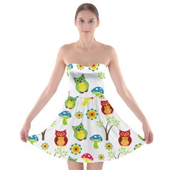 Cute Owl Wallpaper Pattern Strapless Bra Top Dress