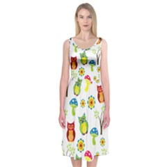 Cute Owl Wallpaper Pattern Midi Sleeveless Dress