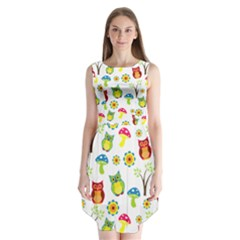 Cute Owl Wallpaper Pattern Sleeveless Chiffon Dress