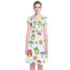 Cute Owl Wallpaper Pattern Short Sleeve Front Wrap Dress