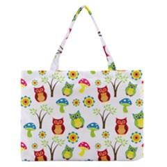 Cute Owl Wallpaper Pattern Medium Zipper Tote Bag