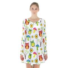 Cute Owl Wallpaper Pattern Long Sleeve Velvet V Neck Dress