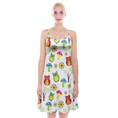 Cute Owl Wallpaper Pattern Spaghetti Strap Velvet Dress