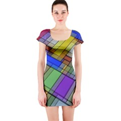 Abstract Background Pattern Short Sleeve Bodycon Dress