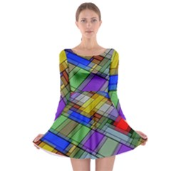 Abstract Background Pattern Long Sleeve Skater Dress