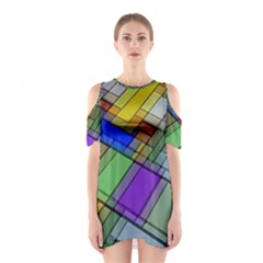 Abstract Background Pattern Shoulder Cutout One Piece