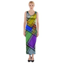Abstract Background Pattern Fitted Maxi Dress