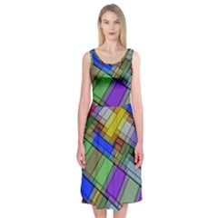 Abstract Background Pattern Midi Sleeveless Dress