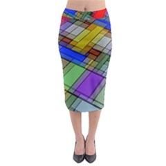 Abstract Background Pattern Midi Pencil Skirt