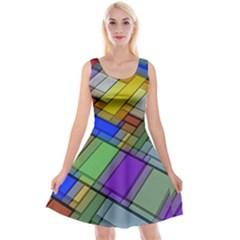 Abstract Background Pattern Reversible Velvet Sleeveless Dress