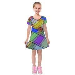 Abstract Background Pattern Kids  Short Sleeve Velvet Dress