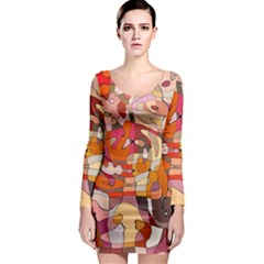 Abstract Abstraction Pattern Modern Long Sleeve Bodycon Dress