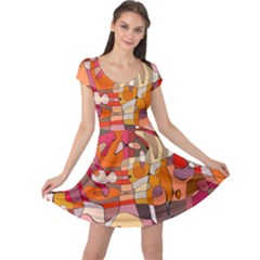 Abstract Abstraction Pattern Modern Cap Sleeve Dresses