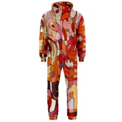 Abstract Abstraction Pattern Modern Hooded Jumpsuit (Men)