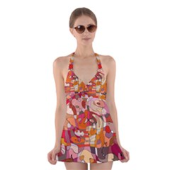 Abstract Abstraction Pattern Modern Halter Swimsuit Dress