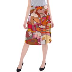 Abstract Abstraction Pattern Modern Midi Beach Skirt