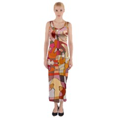 Abstract Abstraction Pattern Modern Fitted Maxi Dress