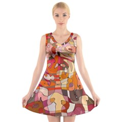 Abstract Abstraction Pattern Modern V Neck Sleeveless Skater Dress