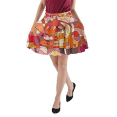 Abstract Abstraction Pattern Modern A-Line Pocket Skirt