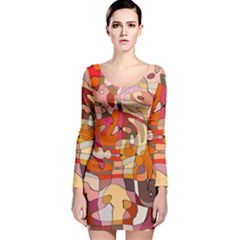 Abstract Abstraction Pattern Modern Long Sleeve Velvet Bodycon Dress