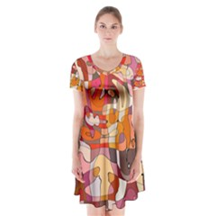 Abstract Abstraction Pattern Modern Short Sleeve V-neck Flare Dress