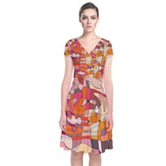 Abstract Abstraction Pattern Modern Short Sleeve Front Wrap Dress